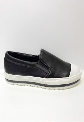 Crystal Korea Fashion 黑色 韓國制撞色平底輕便休閒鞋 C1212SH96C2853GS_1