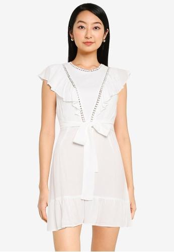 ZALORA BASICS white Textured Ruffle Mini Tie Dress 4E942AAE74BD3EGS_1