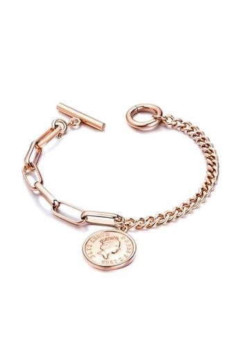 CELOVIS gold CELOVIS - Queen Elizabeth Coin Pendant Toggle Clasp Bracelet (Rose Gold) 7CD18AC936797CGS_1