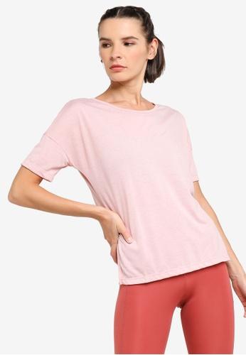 Nike pink Women's Yoga Short-Sleeve Top 76CEDAA1E9D54DGS_1