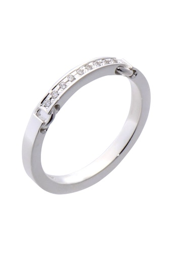 The LoveMark silver Buckle Chain Ring with Artificial Diamonds for Men lr0016m TH516AC67VAYPH_1