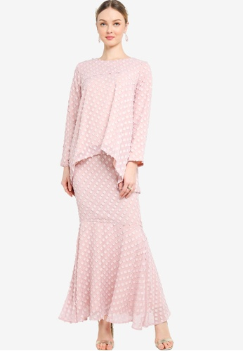 Lubna pink Textured Flare Kurung With Mermaid Skirt 72CD4AAB5B2F74GS_1