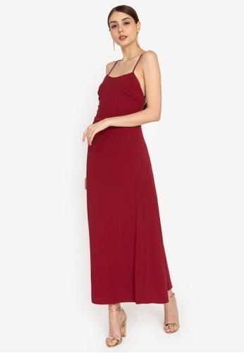 ZALORA OCCASION red Maxi Slip Dress 58807AAC2E0531GS_1