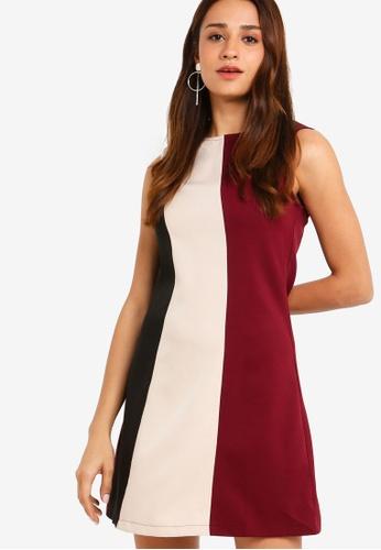 ZALORA black and multi Colourblock Sleeveless Dress 0C47CAAC80C02DGS_1