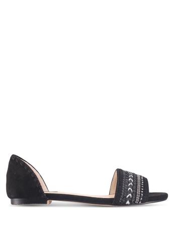 ZALORA black Stitching Detail Sandals 8677ESH8DF9C5BGS_1
