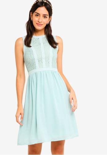 ZALORA green Bridesmaid Lace Panel Fit & Flare Dress 19EE6AA12C0E68GS_1