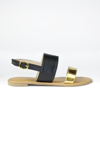 HDY black and gold Trixie Flats Sandals HD484SH94RFDPH_1