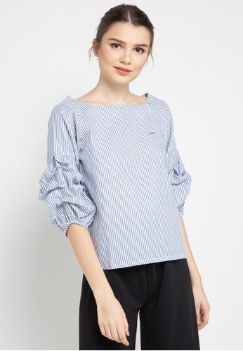 Lavabra blue Pleated Sleeve Striped Blouse 694D5AA512CA0EGS_1