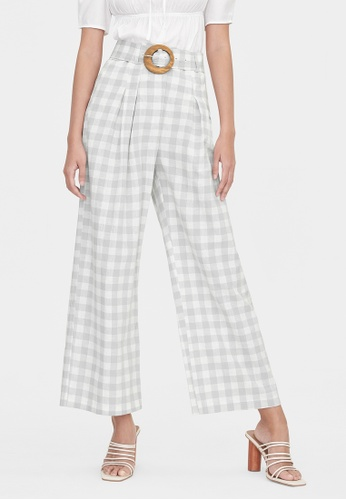 Pomelo grey Purpose Gingham Belted Pants - Light Grey 767E0AADA8D054GS_1