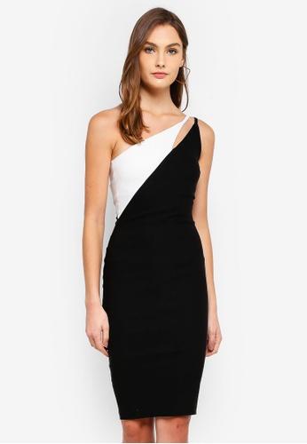 Vesper black and white Fauna Asymmetric Contrast Midi Dress 304D3AA5AA37DCGS_1