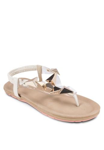 立體金屬閃飾平底涼鞋, 女鞋,esprit 品牌 涼鞋
