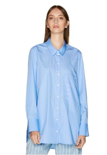 United Colors of Benetton 藍色 男友風寬版襯衫 E4474AA0E2E5C5GS_1