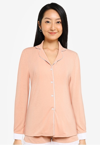 ZALORA BASICS pink Lounge Jersey Color Block Pyjama Shirt 1C64EAA9815B18GS_1