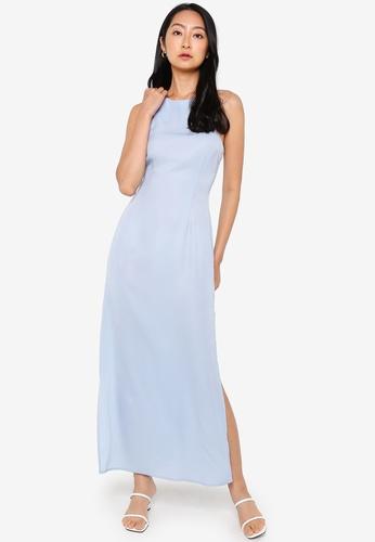 ZALORA BASICS blue Cut In Maxi Dress F54A8AA97C584FGS_1