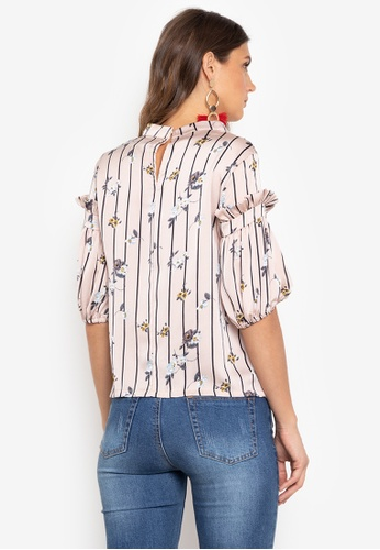 bc4dcf470c957 Shop Chloe Edit Persophone Floral And Stripe Blouse With Stand Collar And Puff  Sleeves Online on ZALORA Philippines