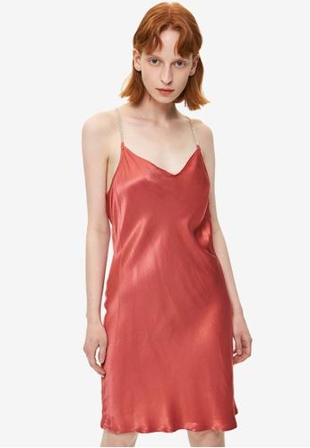 URBAN REVIVO pink Rhinestone Y-Strap Shift Dress A7284AAA494B41GS_1