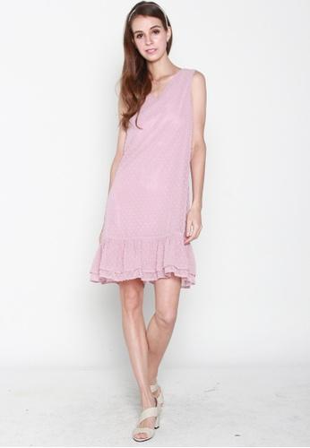 JOVET pink Sleeveless Dotty Flute Hem Dress CA018AA66231ECGS_1