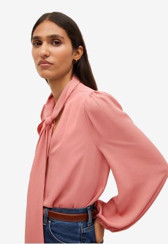 Mango pink Knot Detail Flowy Blouse F623EAA6DB44D6GS_1