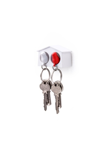 Qualy Qualy Mini Duo Sparrow Key Ring (White/White/Red) 78ED4HL93D4F7FGS_1