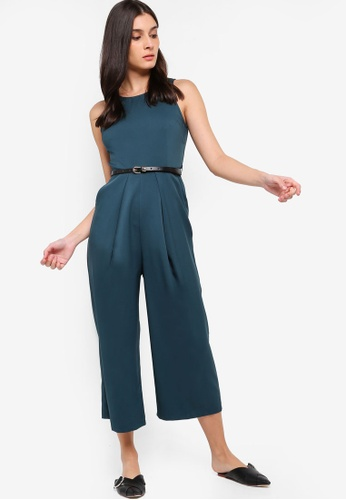 ZALORA green Pleat Details Jumpsuit 2EAFCAA6EB005DGS_1