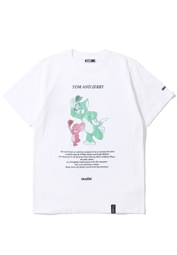 BLOCKAIT white X Tom and Jerry relaxed graphic tee 064D1AA93D1D5EGS_1