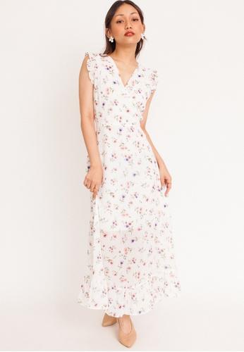 Hook Clothing white and multi Daisy Ruffle Sleeve Maxi Dress 7C8FFAA10D311FGS_1
