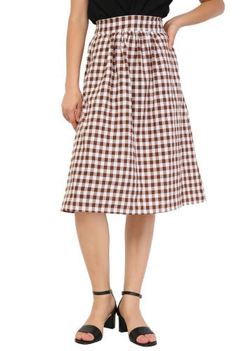 madeleine brown Checkered Skirt Brown 13E69AAFC22309GS_1