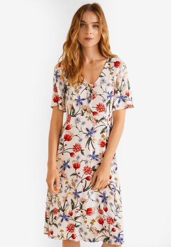 Mango white Flowy Midi Dress EAF56AA9F2C32AGS_1