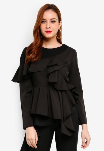 Lubna black Asymmetrical Top 1858DAA25F3E73GS_1
