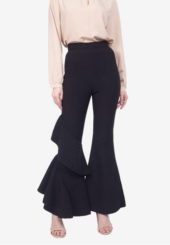 Caoros black Ruffle Leg Flare Pants F7F74AAA054E11GS_1