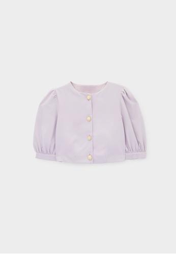 Pomelo purple Marble Button Puffed Crop Blouse - Lavender 21D29AADCB157CGS_1