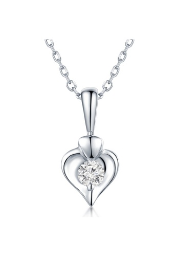 MaBelle silver 18K 750 White Gold Diamond Heart Pendant with 925 Sterling Silver Necklace Chain 15727AC9572FA0GS_1