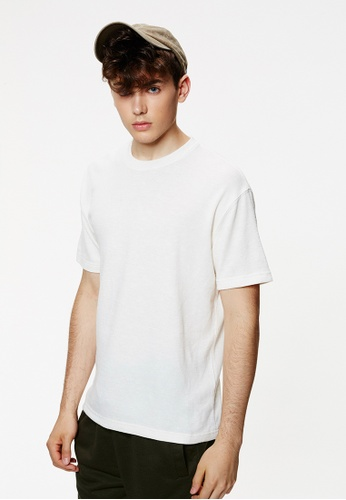 Life8 white Casua Weavel Crew Neck T-Shirt With Pocket-03933-White LI283AA0FTPGSG_1