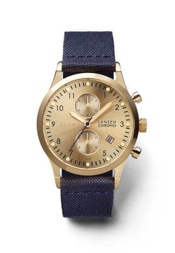 TRIWA gold and navy Gold Lansen Chrono Navy Canvas Classic TR990AC62BXHHK_1