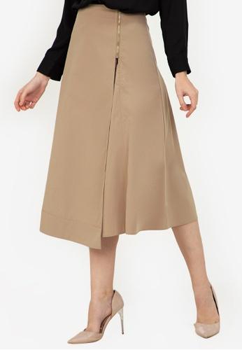 ZALORA WORK brown Side Zip Midi Skirt F55DAAA35EDD8EGS_1