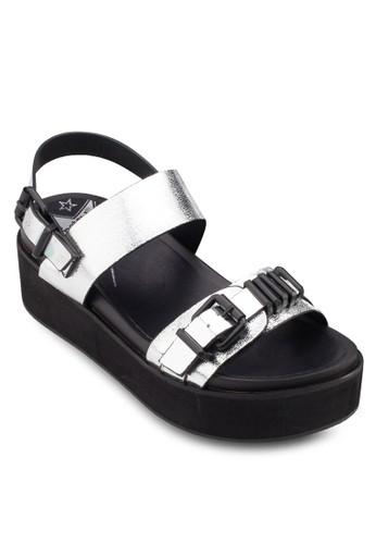 金屬扣環亮面esprit tsim sha tsui楔形涼鞋, 女鞋, 鞋