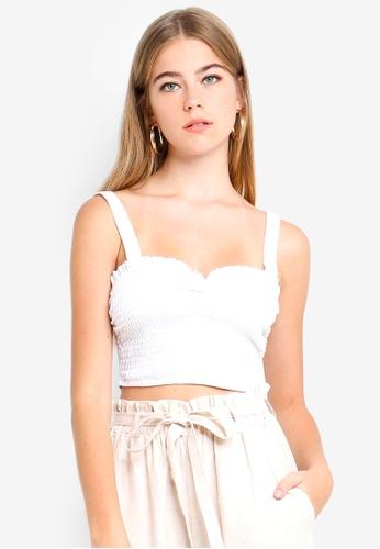 Supre white Jenna Gathered Shirred Top 30B2FAAE1F26EEGS_1