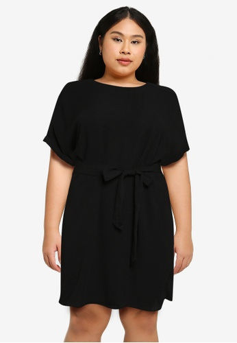 Only CARMAKOMA black Plus Size Jackie Short Sleeves Knee Dress CD7FFAA13FAED5GS_1
