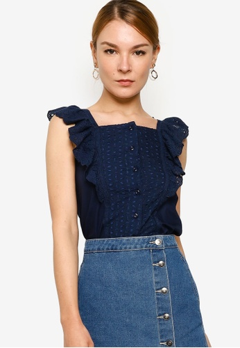 ZALORA navy Embroidered Ruffle Top D9EC6AA77C4ACCGS_1