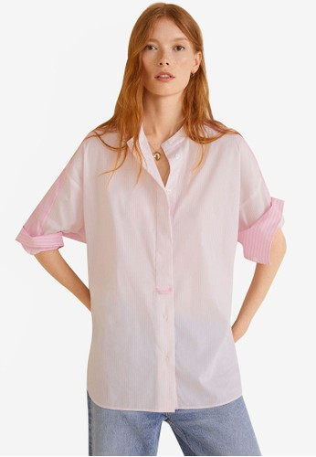 MANGO pink Striped Cotton Shirt 3AF39AA5EC2016GS_1