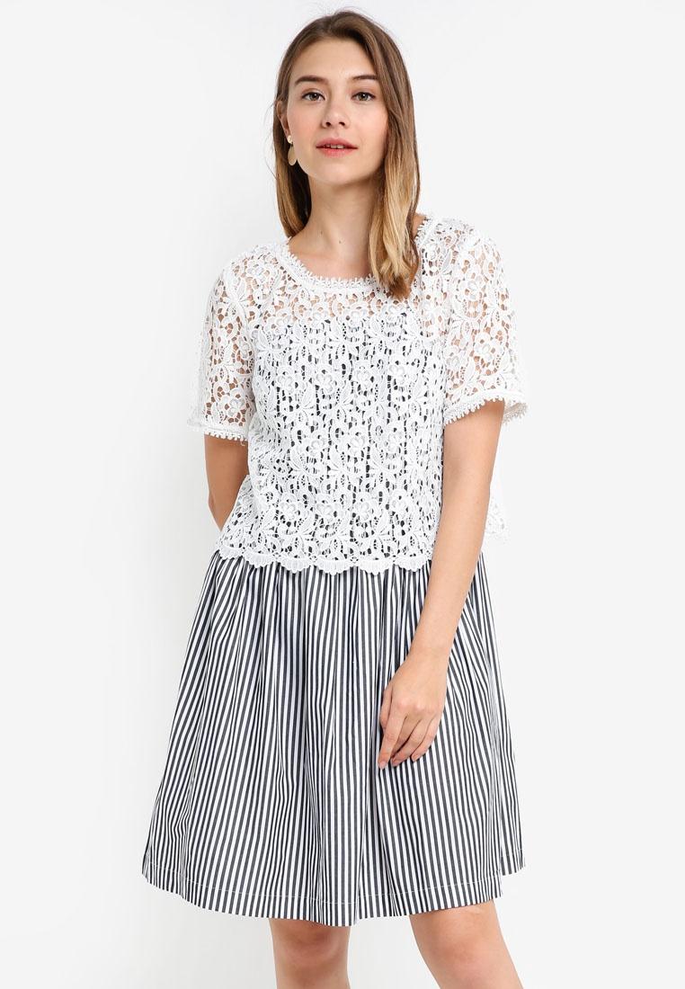 5f8ad175c864 Flared Stripe Connection White Sardinia Black Summer Dress French g5BwwWq7  ...