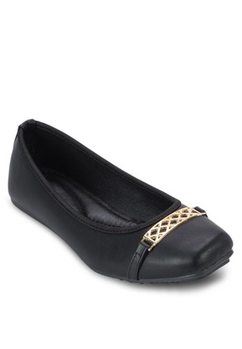鬆esprit tw餅金飾方頭平底鞋, 女鞋, 鞋