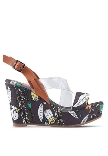 Nose 褐色 花卉繞帶楔型鞋 AABC1SHF86A925GS_1