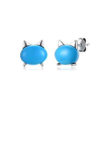 Glamorousky green 925 Sterling Silver Simple Cat Turquoise Stud Earrings 6CA2DAC9F1169FGS_1
