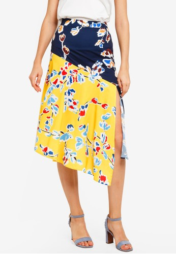 Lavish Alice multi Mixed Print Asymmetric Hem Split Skirt 0CAB9AAB92D0DCGS_1