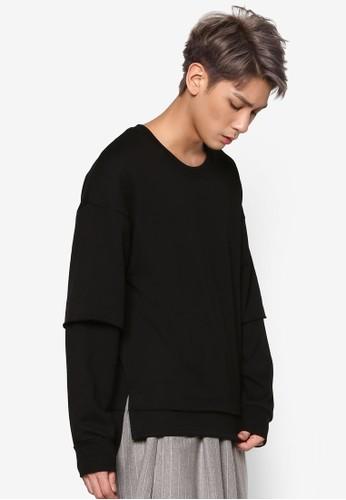 前短後長層次長袖衫, esprit outlet台北服飾, 運動衫