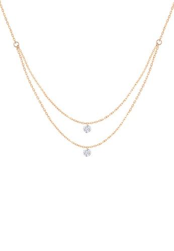 Khoe 粉紅色 Khoe 18K玫瑰金鑽石吊咀頸鏈 53DE5AC7DDB758GS_1