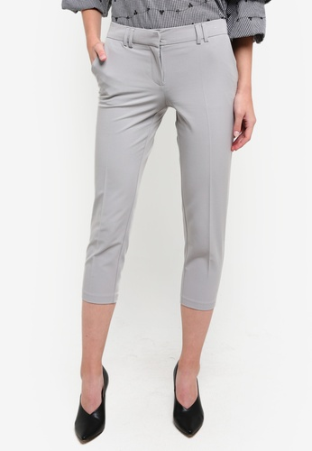 Dorothy Perkins grey Petite Silver Naples Ankle Trouserrs DO816AA0RV4YMY_1