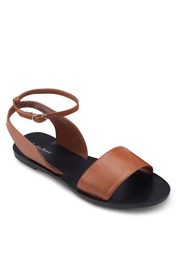 繞esprit outlet 家樂福踝帶平底涼鞋, 女鞋, 鞋