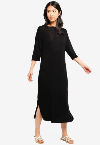 ZALORA BASICS black Basic Longline Knitted Dress 90D4FAA6F1F6DEGS_1